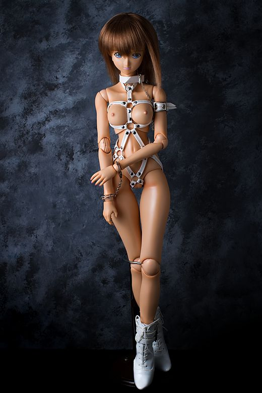 vmf50 in a white bondage harness